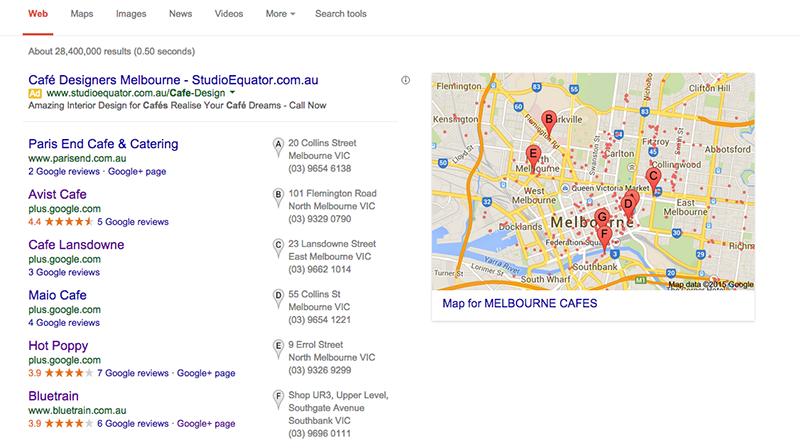 Melbourne Cafes on Google