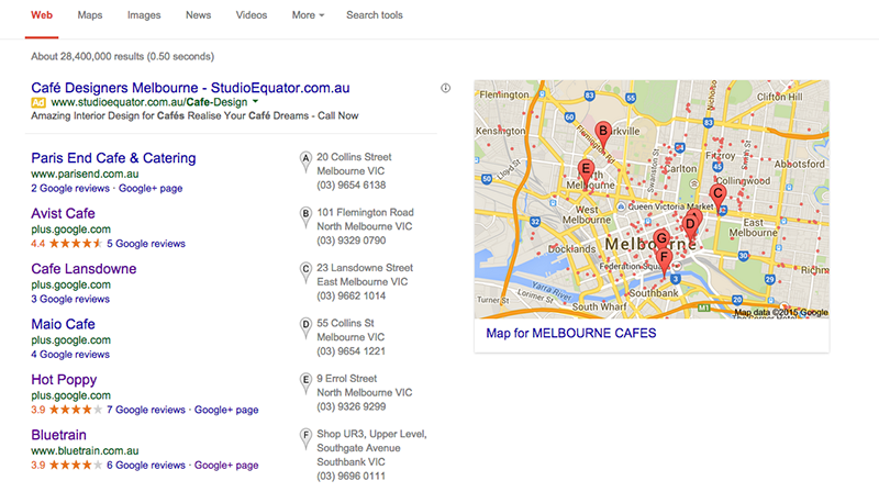 Melbourne Cafes on Google