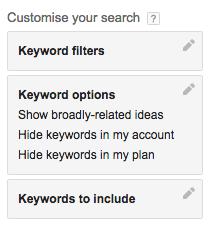 Keyword Planner Filtering Tool