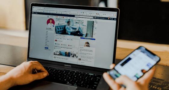 Laptop social media and smartphone social media