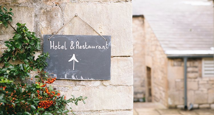 Sign for hotel and restaurant